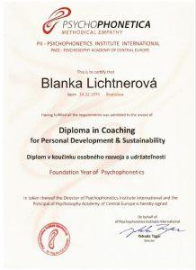 Diplom v koucingu osobného rozvoja a udrzatelnosti